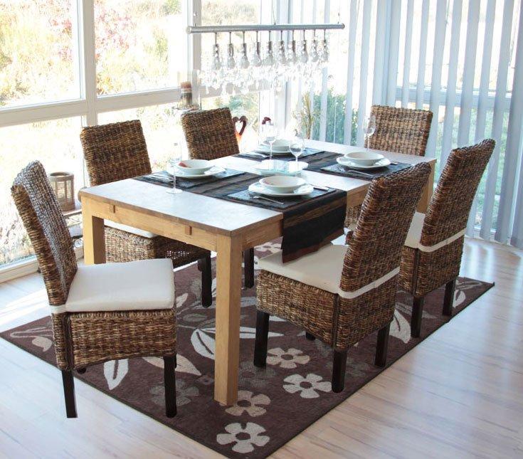 Lotto 6 sedie per sala da pranzo SABANA in Vimini Scuro con Cuscino ...