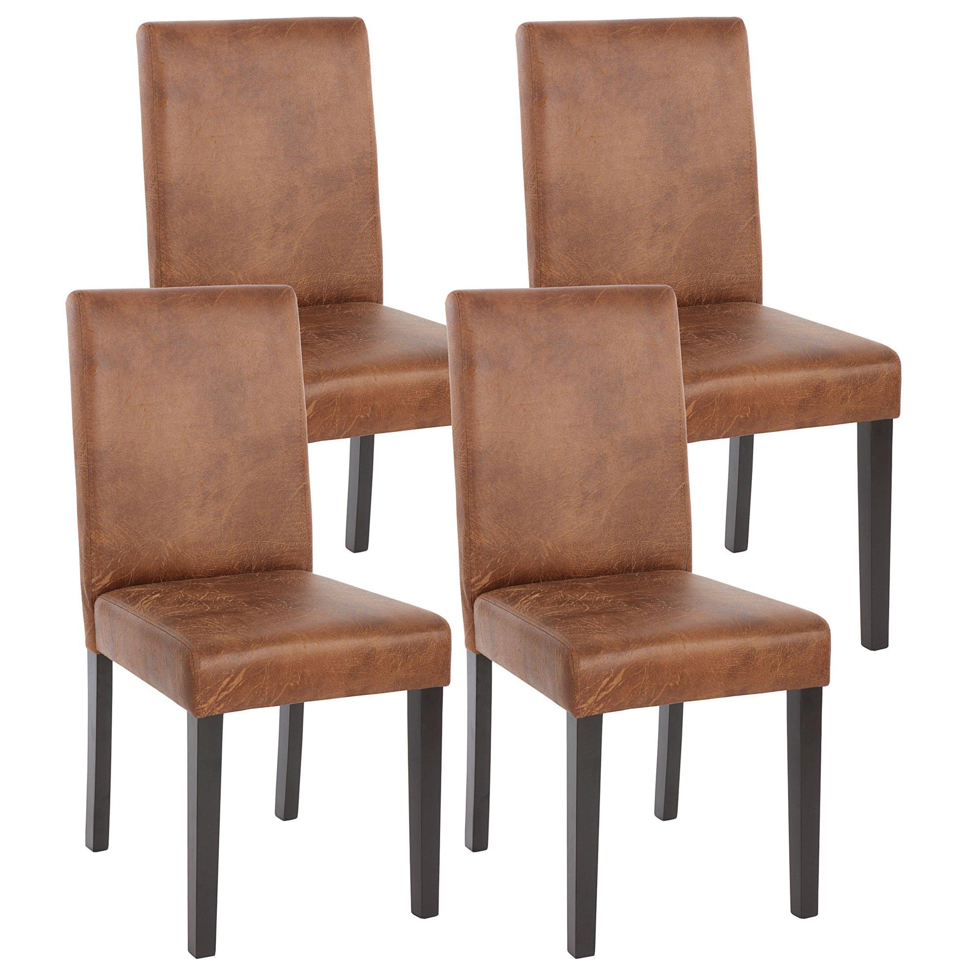 Lotto da 4 sedie per soggiorno litau similpelle marrone e for Sedie in pelle per sala da pranzo