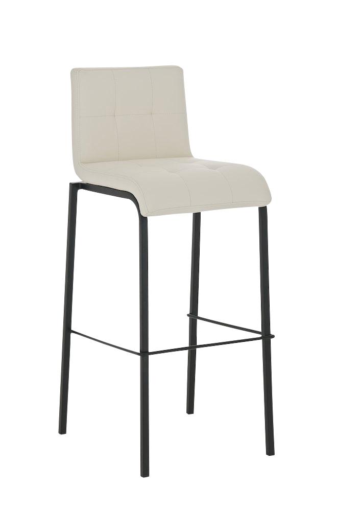 Sgabello da bar MARTINA in nero, sedile in pelle crema - Homyarredi.it