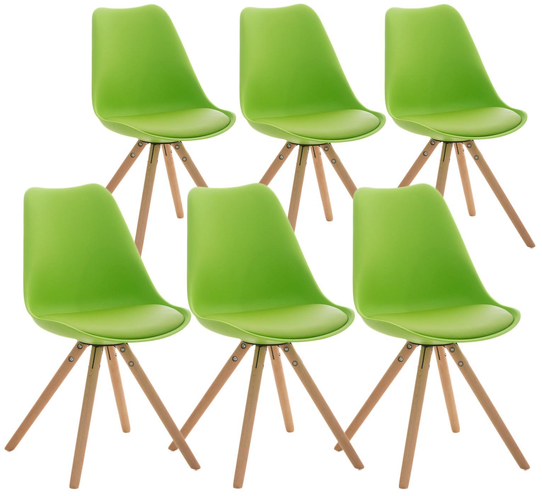 Lotto da 6 Sedie per Soggiorno TAYLOR, Design Moderno, Base in Legno  Chiaro, Seduta in Pelle Verde
