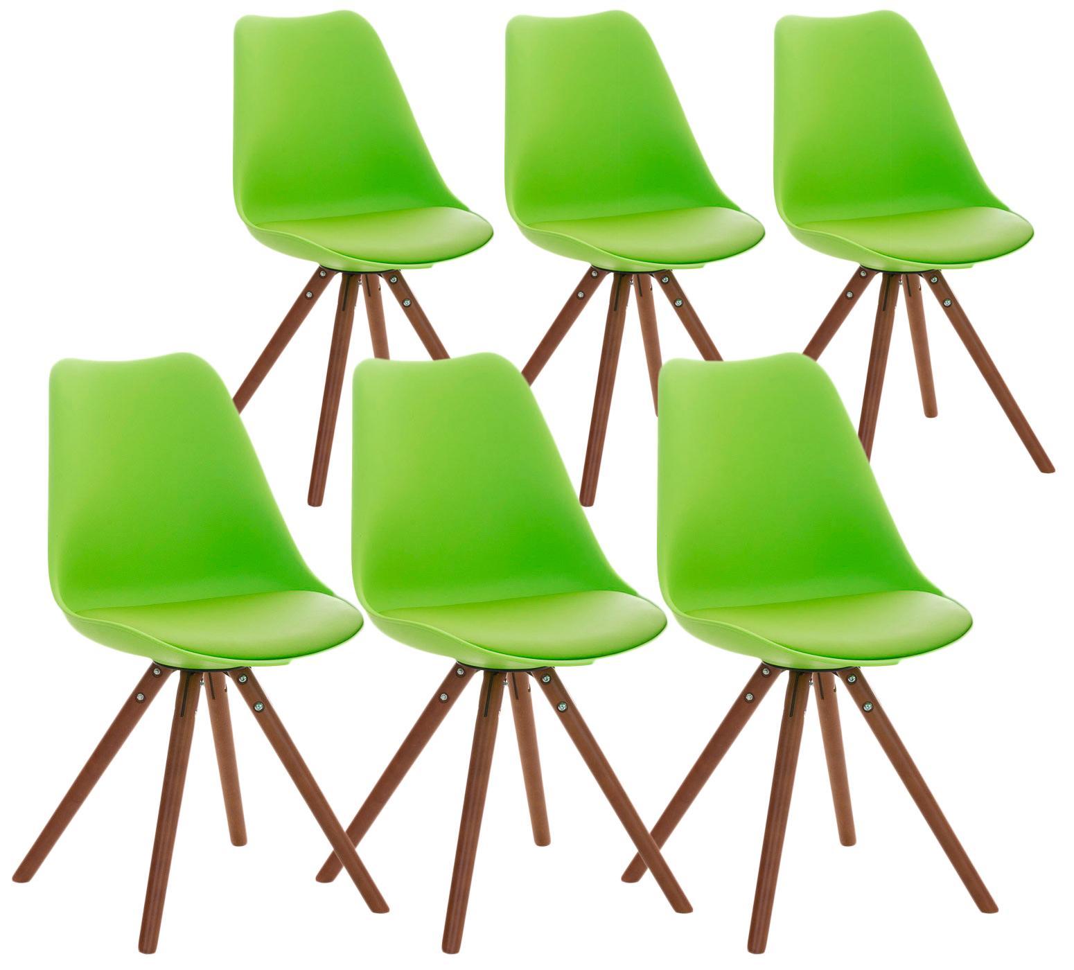 Lotto da 6 Sedie per Soggiorno TAYLOR, Design Moderno, Base in Legno Scuro,  Seduta in Pelle Verde