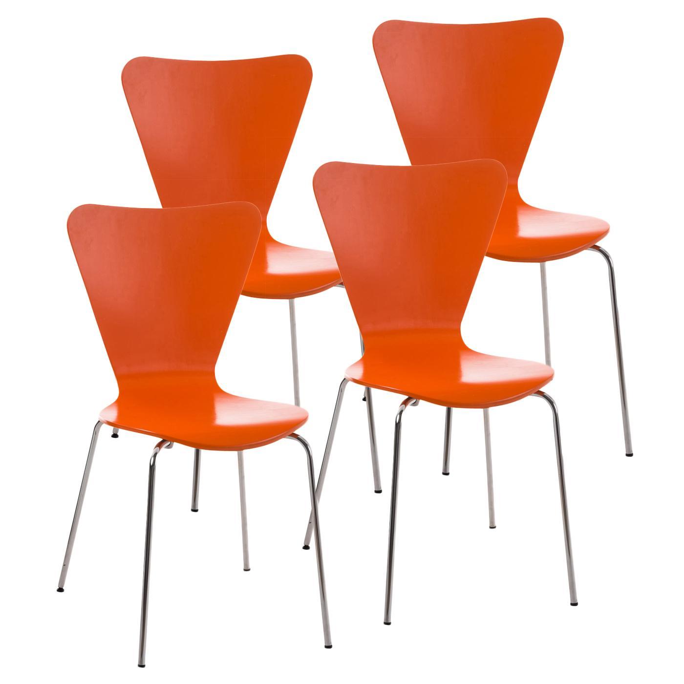 Lotto 4 sedie lerma in arancione for Sedie da cucina in metallo