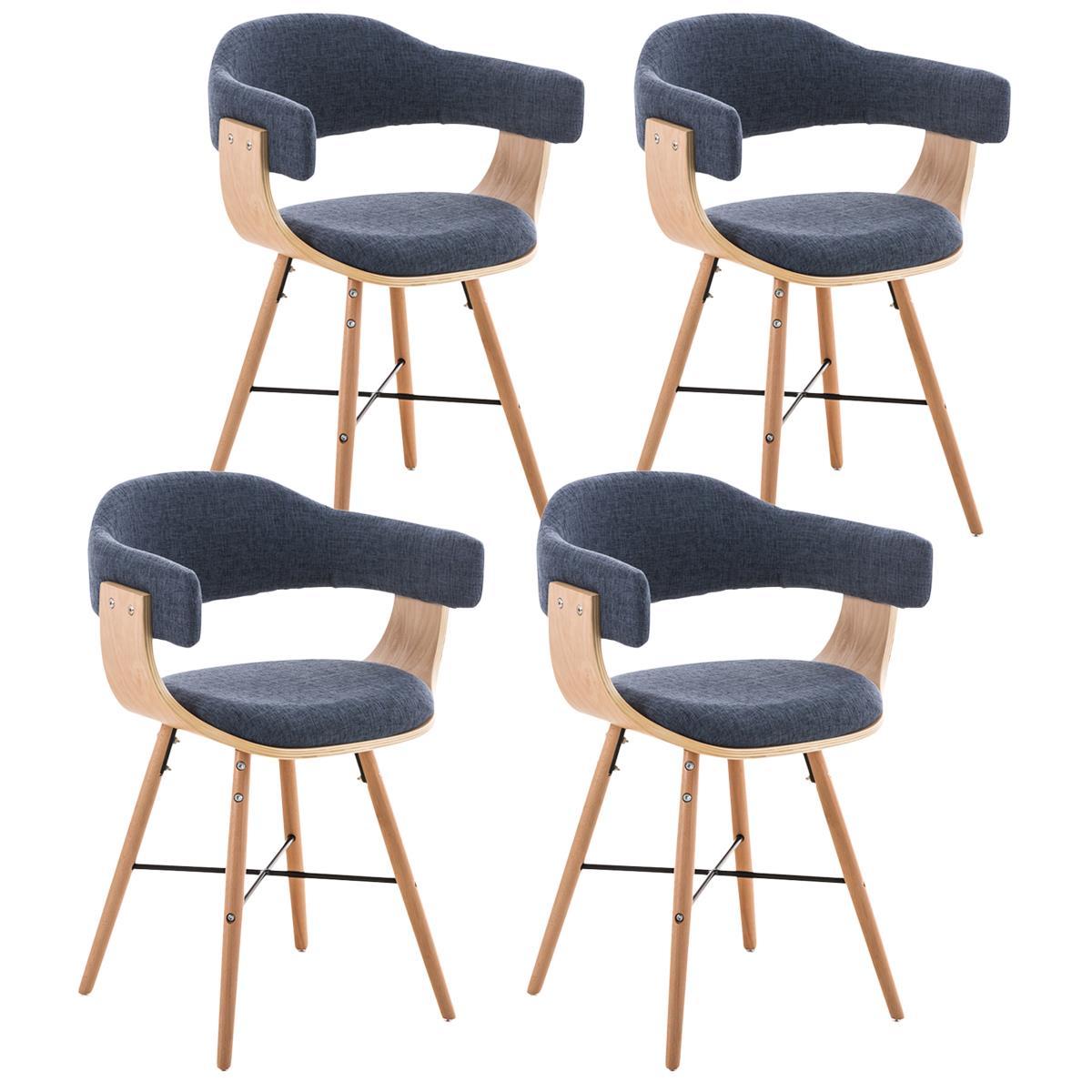 Lotto 4 sedie per sala da pranzo ALBATROS, in tessuto Blu - Lotto da ...