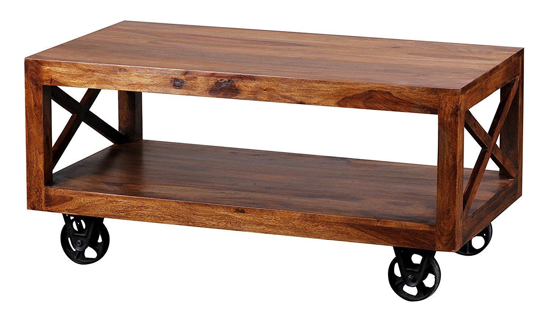 Tavolini Da Salotto Con Ruote.Tavolino Da Salotto Elisabeth Cm 40x110x60 In Legno Massiccio