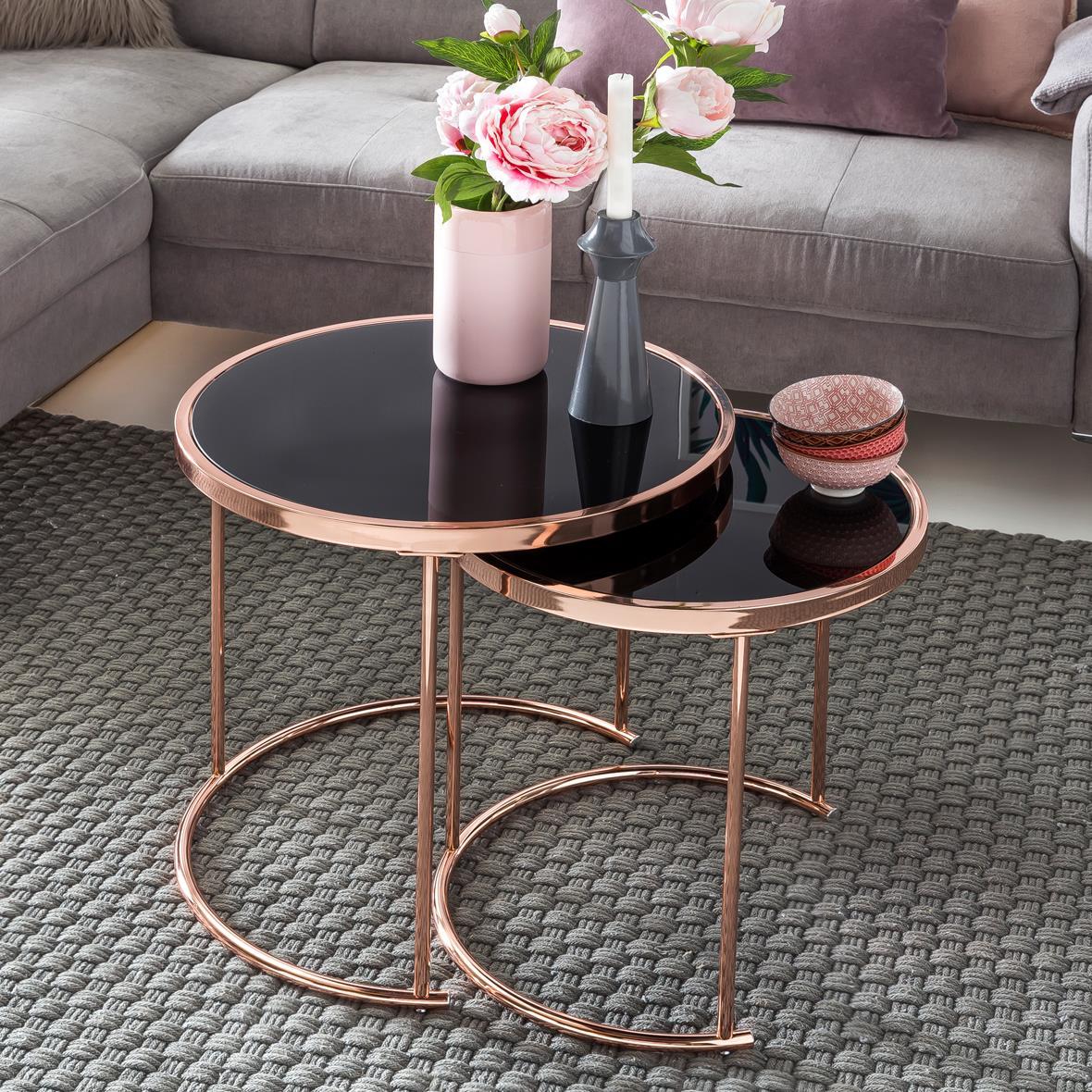 Pratico set di 2 tavolini da salotto celsio struttura in for Tavolini design