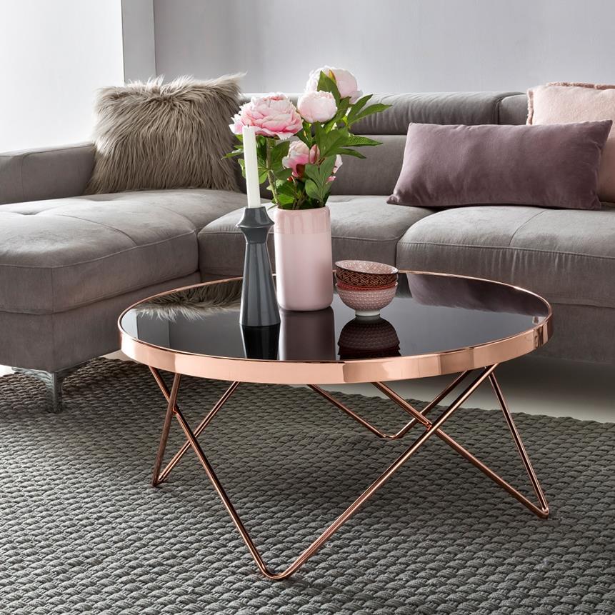 Tavolino Da Salotto HOLDEN, Struttura in Metallo e Ampio Ripiano Vetro  Nero, Design Esclusivo