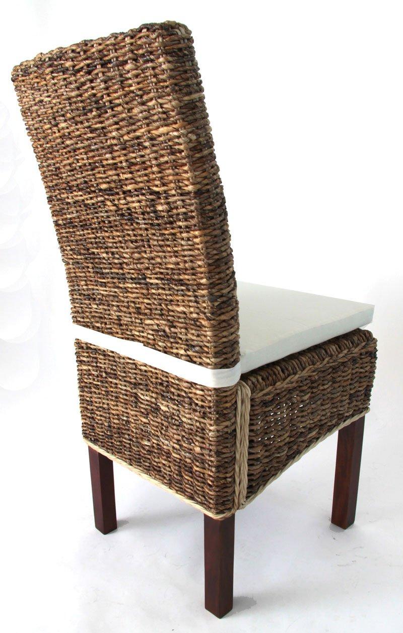 Lotto 2 sedie da soggiorno sabana in vimini con cuscino for Sedie design moderno