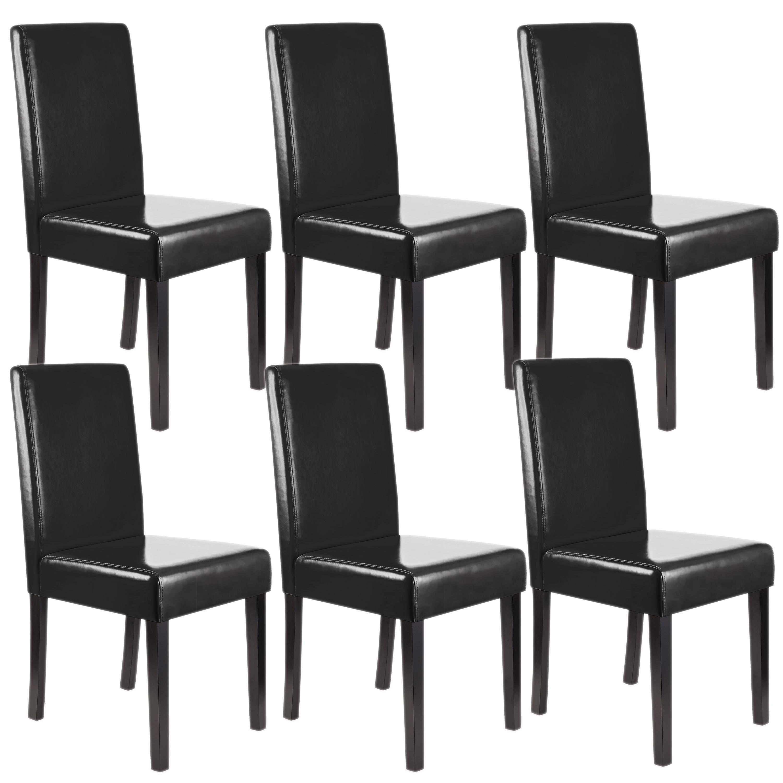 Lotto da 6 sedie da salotto litau similpelle nera e gambe for Sedie in pelle per sala da pranzo