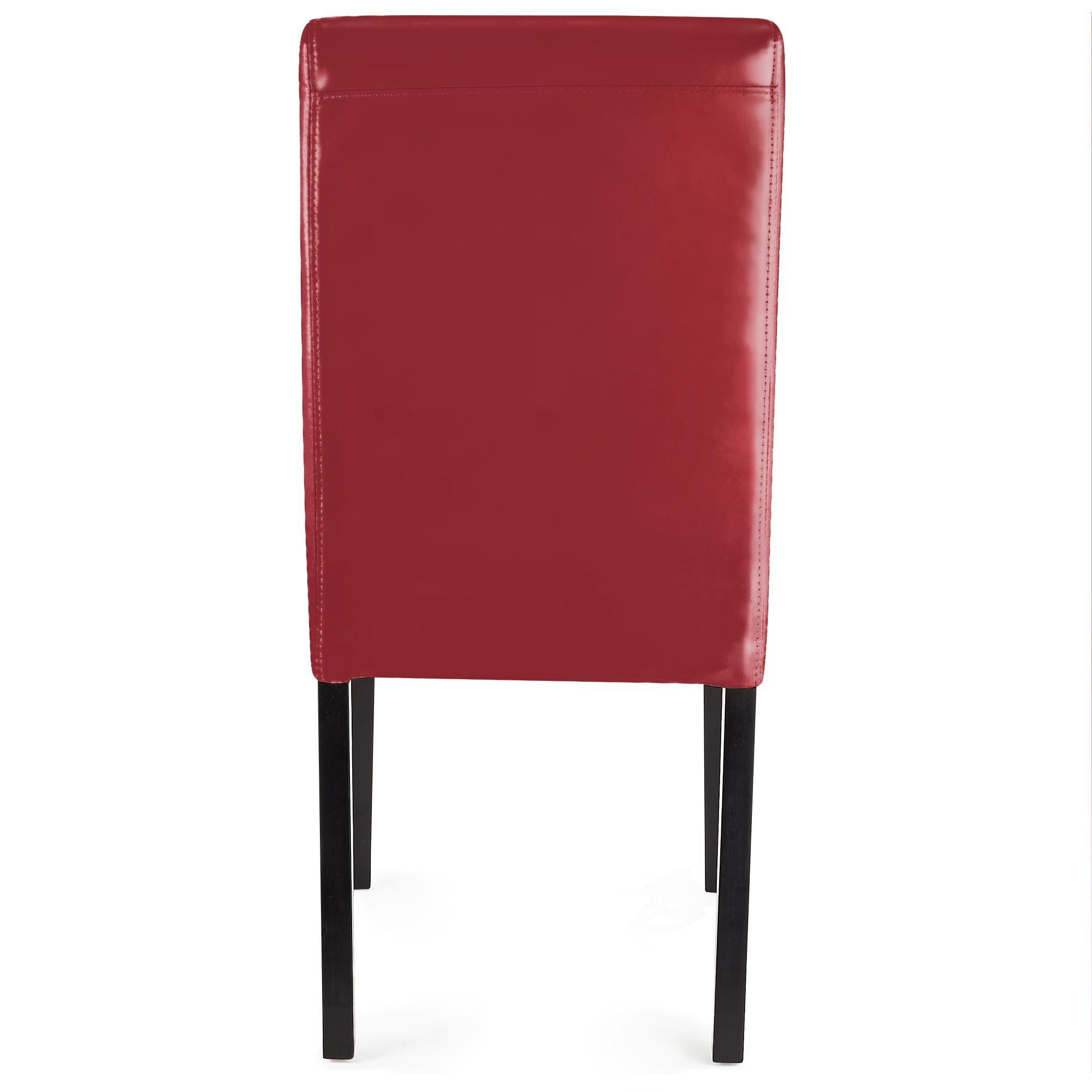 Sedie Da Salotto In Pelle.Lotto Da 4 Sedie Per Salotto Litau Pelle In Vera Pelle Color Rosso E Gambe Scure