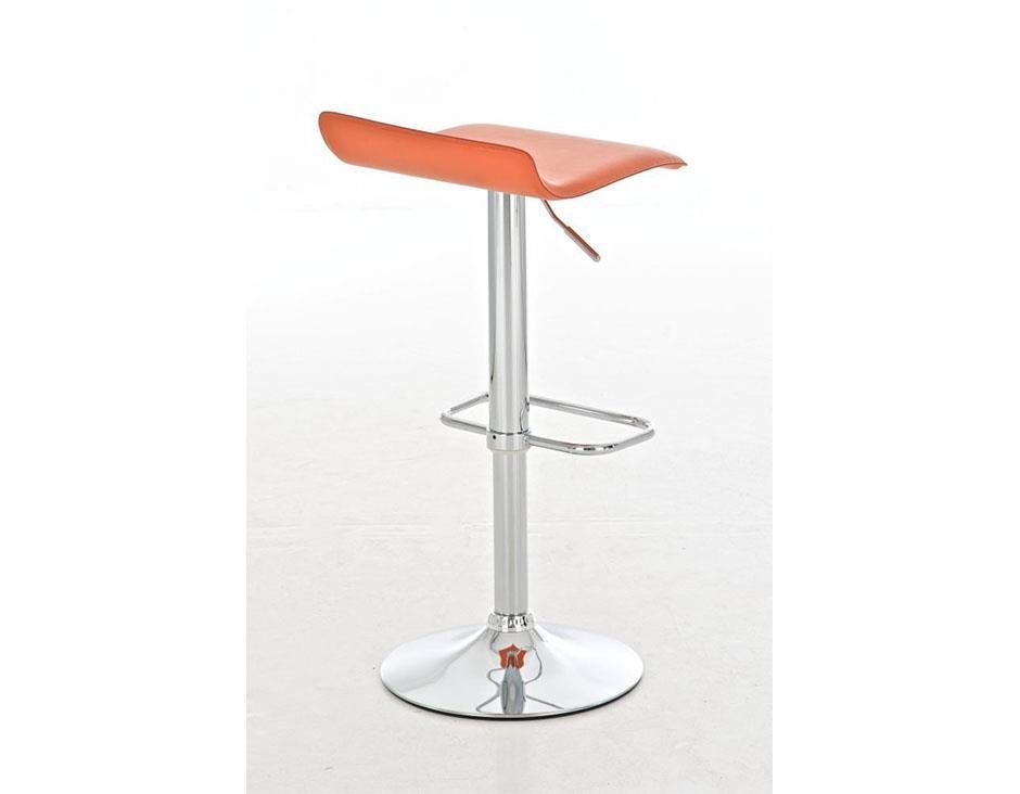Sgabello da bar itan in pelle arancione sgabello di design itan