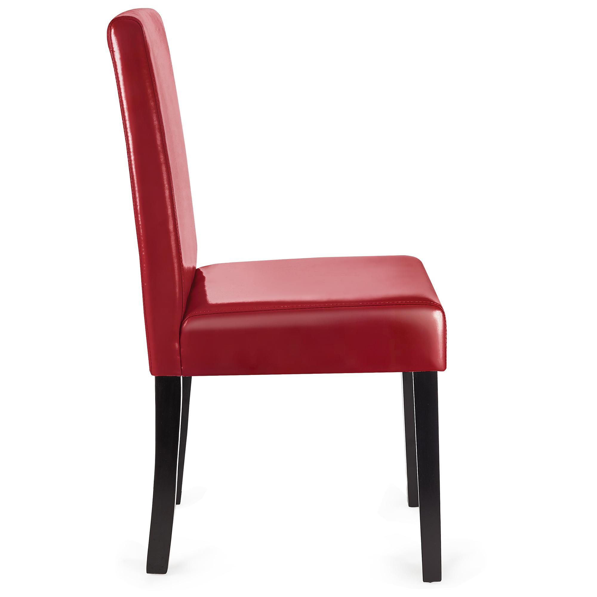 Lotto da 4 Sedie per Salotto LITAU PELLE, in Vera Pelle color Rosso e Gambe  Scure