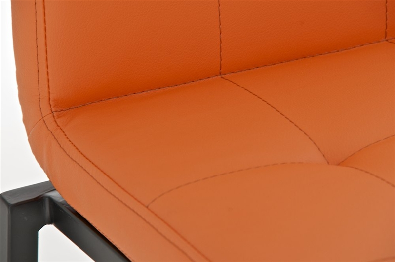 Martina in nero sedile in pelle arancione sgabello da cucina o