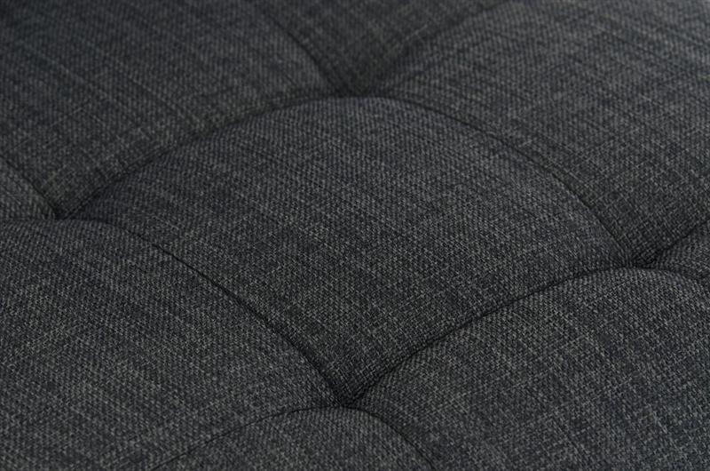 Sgabello da cucina martina stoffa in nero con sedile grigio scuro
