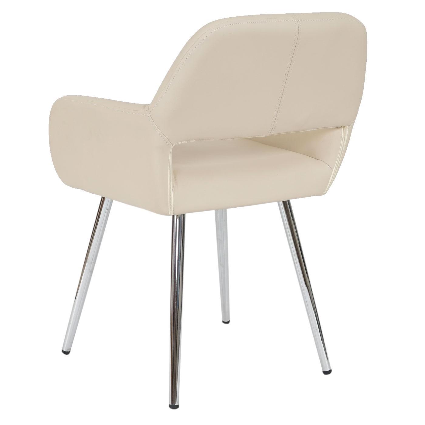 Lotto da 6 sedie da soggiorno CALISA, in pelle crema ...