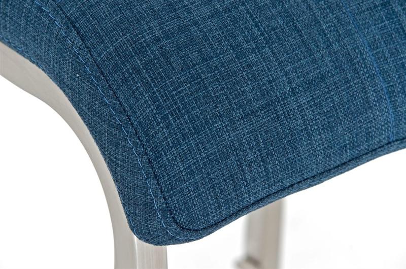 Sgabello da cucina martina pro stoffa sedile in tessuto blu