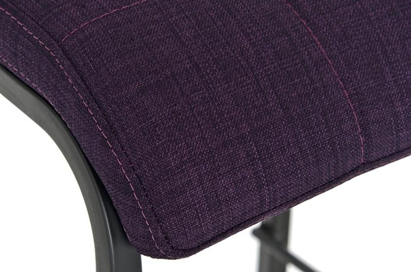 Sgabello da cucina martina stoffa in nero con sedile viola