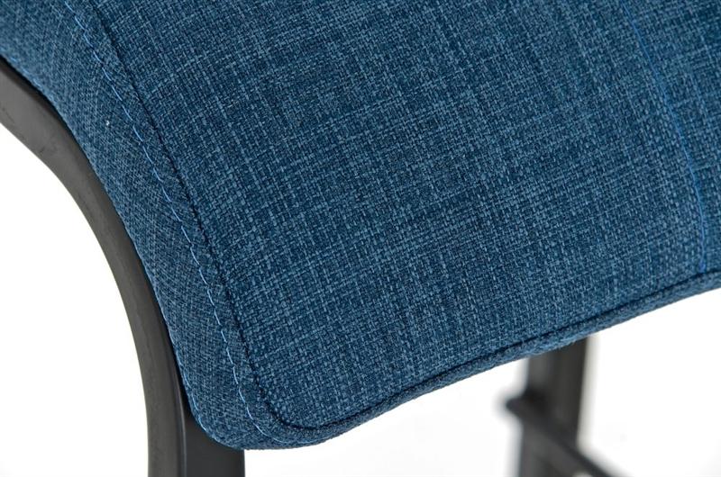 Sgabello da cucina martina stoffa in nero con sedile blu sgabello