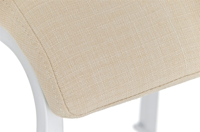 Sgabello da cucina martina stoffa in bianco con sedile crema
