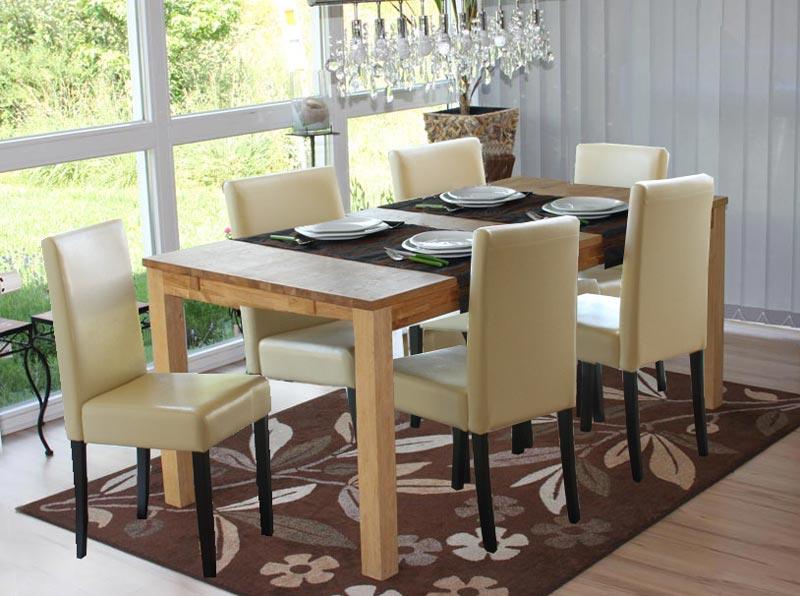 Lotto da 2 sedie da soggiorno litau similpelle crema e for Sedie in pelle per sala da pranzo