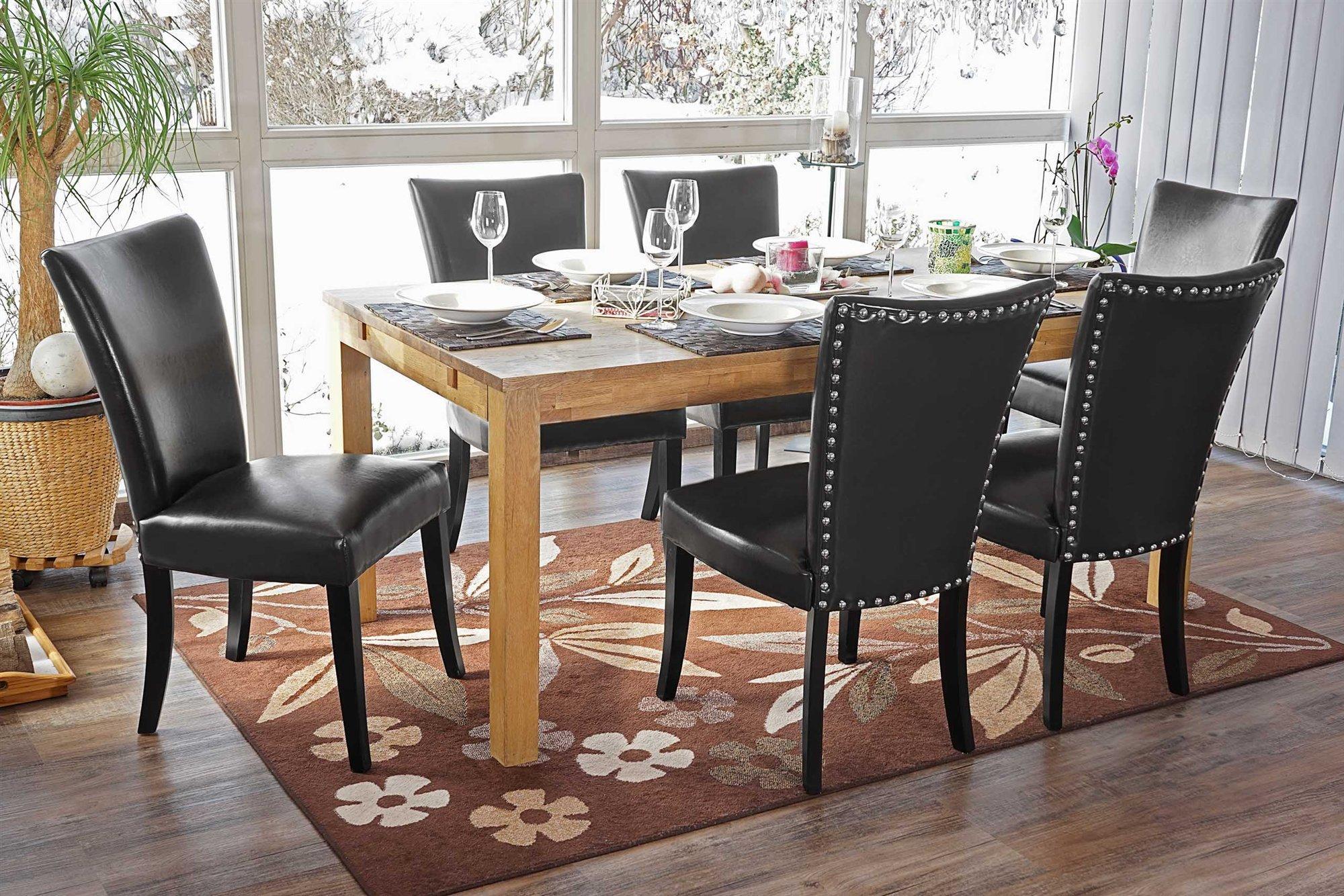 Lotto da sedie da salotto litau similpelle nera e gambe scure