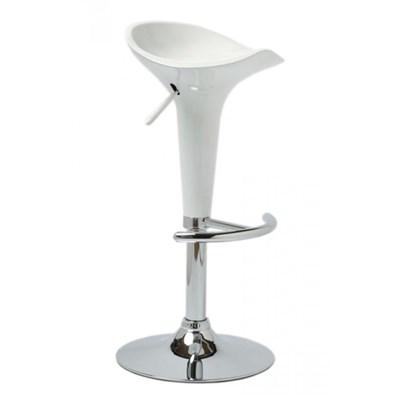Sgabello da Cucina CANDY, Design Moderno, Girevole e Regolabile in Altezza, in color Bianco