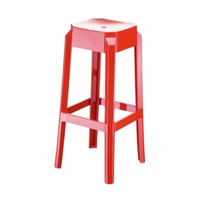 Sgabello da Bar FORTUNA, Design moderno, Struttura in Policarbonato, Molto Resistente, in Rosso