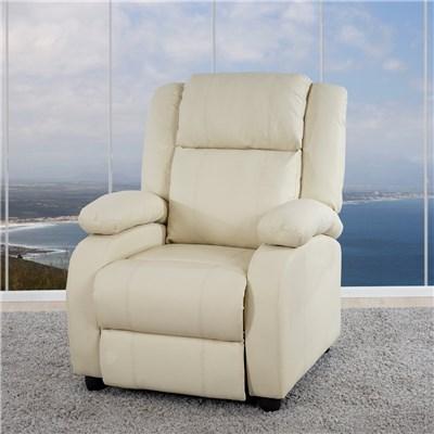 Poltrona Relax Reclinabile LINCON, in Color Crema, Spessa Imbottitura, Grande Comodità