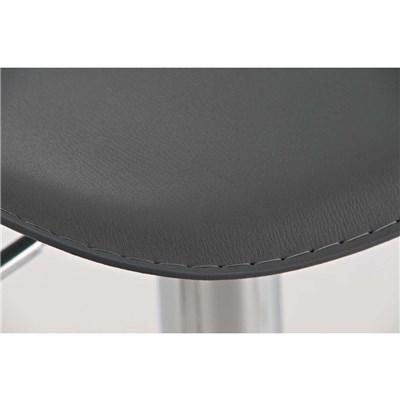 Sgabello di Design, da Bar o Cucina YAGO, in Pelle color Grigio e Struttura in Metallo Cromato