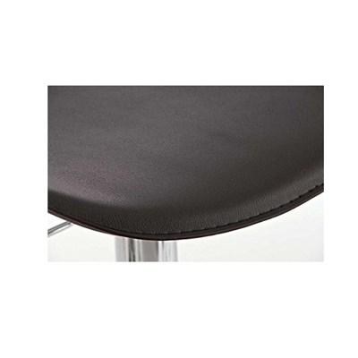 Sgabello da Bar o Cucina YAGO, di Design, in Pelle Nera e Struttura in Metallo Cromato