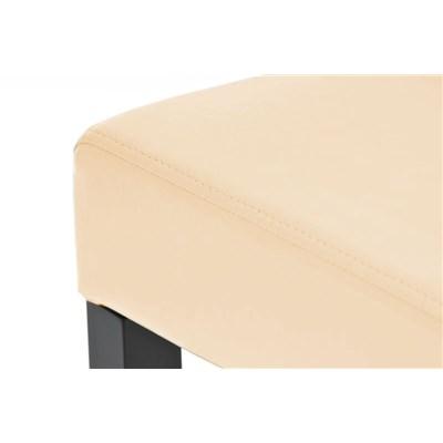 Sgabello in Legno LOLA, Design Elegante, In Legno Nero e Pelle color Crema