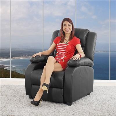 Poltrona Relax Reclinabile LINCON, in Color Nero, Spessa Imbottitura, Grande Comodità