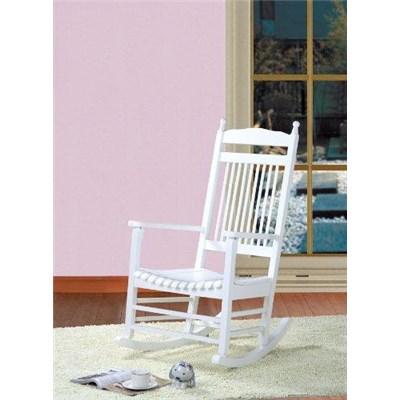 Sedia a Dondolo in Legno ALVA, in colore Bianco, Bellissimo Design, In Stile Rétro
