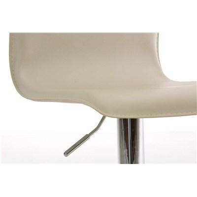 Sgabello da Bar o Cucina ASIER, Design Contemporaneo, Regolabile in Altezza e Girevole, in Pelle color Crema