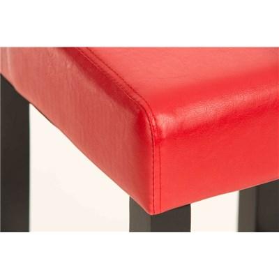 Sgabello in Legno LOLA, Design Elegante, In Legno Nero e Pelle color Rosso