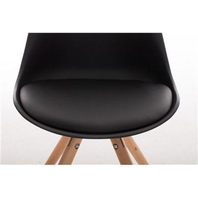 Lotto da 6 Sedie per Soggiorno TAYLOR, Design Moderno, Base in Legno Chiaro, Seduta in Pelle Nera
