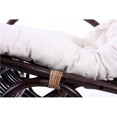 Sedia a dondolo in Vimini DERBY, Spessa Imbottura, in color Marrone, Cuscino Bianco