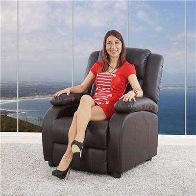 Poltrona Relax Reclinabile LINCON, in Color Marrone, Spessa Imbottitura, Grande Comodità