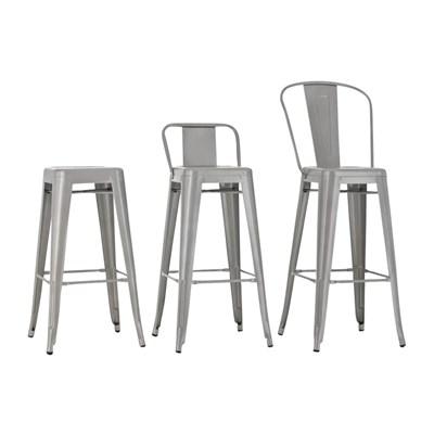Sgabello da Bar o Cucina in Stile Moderno CELIA, in Color Bianco, Realizzato in Metallo, Con Poggiapiedi