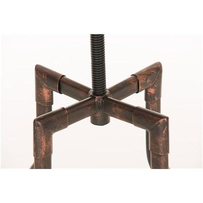 Sgabello di Design Industrial WALTER, Struttura Metallica color Bronzo e Sedile in Legno, Alta qualità