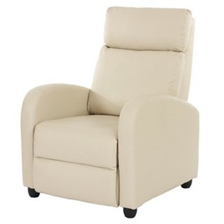 Poltrona Relax Reclinabile DENVER, in Pelle Color Crema, Spessa Imbottitura, Design di Tendenza